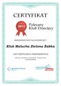 Certyfikat Klub Malucha Zielona Żabka